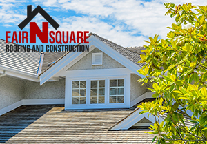 Fair N Square roofing logo on roof